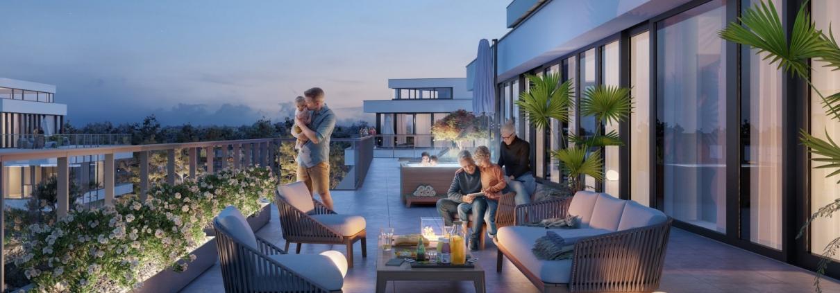 Wizualizacja tarasu penthouse'u w Dune Resort wieczorową porą